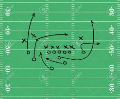 sketch of a football play over a football field graphic stock