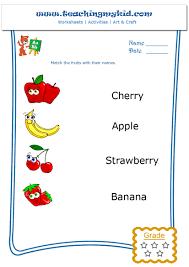 preschool worksheets u2013 match the fruits with their name u2013 4
