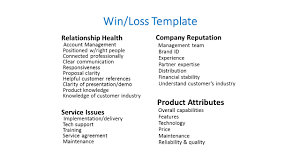templates for win loss analysis