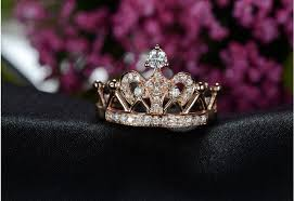 beautiful rose rings images Lovely queen crown ring 18krose gold ring diamond au750 rose gold jpg