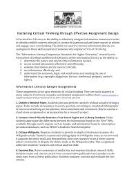 Sample Evaluation Essay Paper Fostering Critical Thinking Through Effective