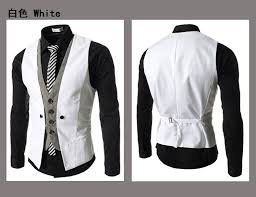 2016 mens double breasted waistcoat vest slim mens casual vest v