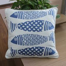 vezo home printed fish cotton canvas sofa cushions cover home
