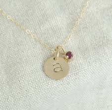 intial necklace solid 14k gold personalized initial necklace with birthstone charm