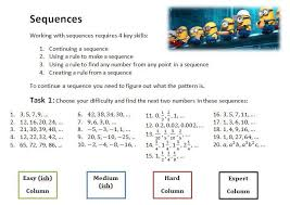 linear sequence worksheet solve my maths