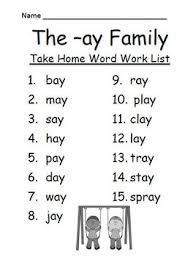 the ay word family spelling lists u0026 tests blends and digraphs