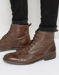 brown motorcycle boots for men h by hudson simpson leather ankle boots in brown for men lyst