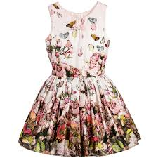 jottum girls pink cotton sateen butterfly dress childrensalon