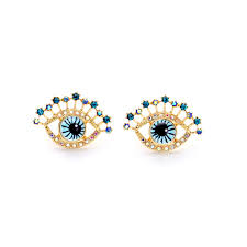 gold earrings online rock style gold color nifty eye stud earring blue zircon earring