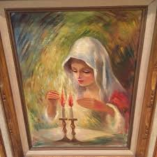 best painting of woman lighting shabbat candles for sale in north