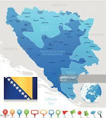 Flag Of Bosnia Map Of Bosnia And Herzegovina States Cities Flag Icons Vector Art