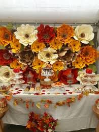 fall paper flower backdrop dessert station styled by whimsical