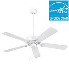 Outdoor Ceiling Fans At Home Depot by Nutone Wet Rated Series 52 In Outdoor White Ceiling Fan Cfo52wh