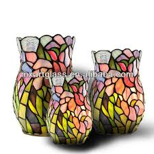 Stained Glass Vase Mx170036 2 Wholesale China Tiffany Style Rose Stained Glass Vase