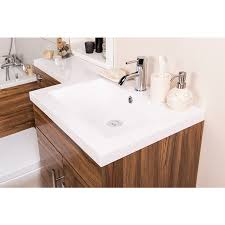 feel curved bathroom suite with rh walnut combi vanity unit