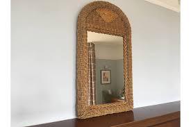 mid century mirror vintage rattan wicker cane mid century mirror rectangular vinterior
