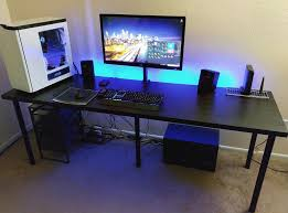 cool gaming computer desk setup with black ikea surripui net