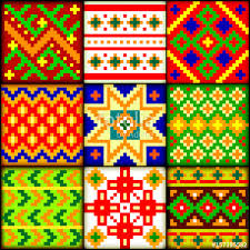 beautiful background with a set of latvian national ornaments
