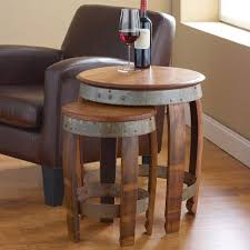 pottery barn nesting tables furniture marvelous barrel head nesting tables wine enthusiast