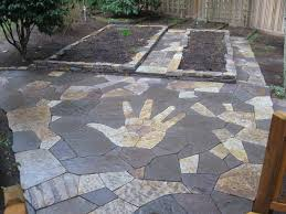 Backyard Flagstone How To Make A Stone Patio Floor Home Outdoor Decoration
