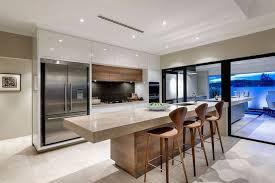 cuisine contemporaine blanche et bois modèle de cuisine moderne en bois massif et blanc laqué îlot en