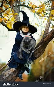 Blue Black Halloween Costumes Cute Black Witch Costume Stock Photo 211565278
