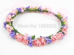pink headbands floral hair crown diy pink band wedding