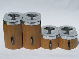 metal kitchen canister sets retro mod 60s wood grain vintage kromex metal kitchen canisters set