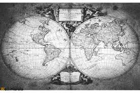mural old world map in grey 2