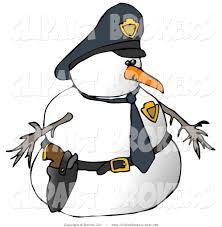 clip art of a snowman police officer facing right by djart 128