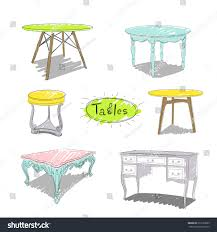 vector sketch different types tables stock vector 616139669
