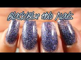 black navy blue holo glitter acrylic nail art tutorial youtube