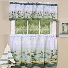 Lighthouse Window Curtains Lighthouse Window Curtain Set Valance 24 Tiers Coastal Nautical