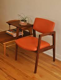 mid century orange and walnut office desk chair trevi vintage design
