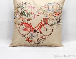 lavender flower cushion cover cotton linen bike orange pillow case