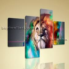 large colorful lion head hd print abstract home decor living room