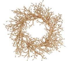 19 glittered iced twig wreath page 1 qvc