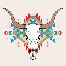 vector illustration of bull skull with ethnic ornament royalty