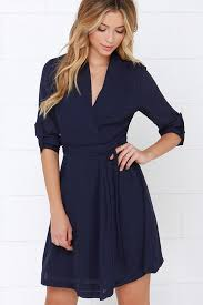 navy blue dress sleeve dress wrap dress 45 00