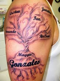 family tree on the shoulder tattoos