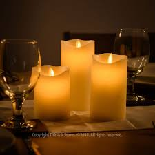 3 large wax led flickering remote candle lights