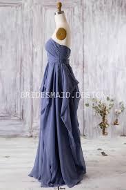 sweetheart navy blue chiffon ruffles simple vintage bridesmaid