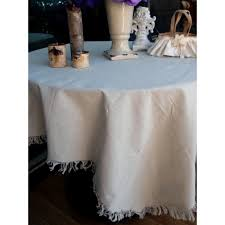 Wholesale Wedding Linens Cotton Muslin Linen Tablecloth Cover With Fringe Edge 427 T129 02