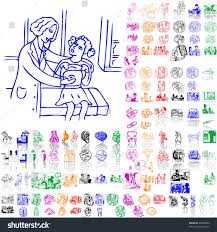 set medical sketches part 1 isolated stock vector 33048394