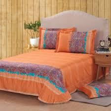 wholesale classic paisley orange queen king size bed lines bedding