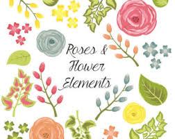 watercolor ranunculus flower clip art for scrapbooking instant