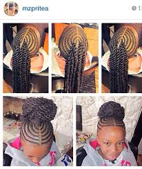 african fish style bolla hairstyle with braids corn rowed hair with extension twists into a bun kiddie styles