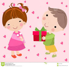 send a gift boy to send a gift to a girl royalty free stock photo