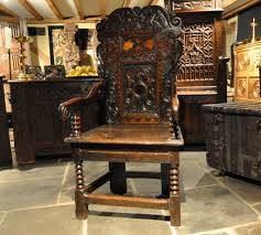 a wonderful charles ii yorkshire oak and inlaid wainscot armchair