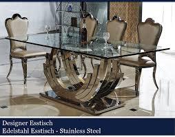 Esszimmer Glastisch Schwarz Designer Esstisch Edelstahl Esszimmer Tisch Glastisch Glas